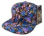 Blank Floral Snapback Hats Wholesale - Blue Small Flowers | All Floral