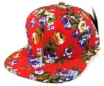 Blank Floral Snapback Hats Wholesale - Red Large Flowers | All Floral