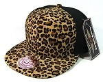 Blank Cheetah Snapbacks Hats Wholesale - 6 Panel | Brown