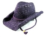Toyo Outback Western Cowboy Straw Hats Wholesale - Purple