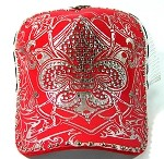 Wholesale Rhinestone Trucker Hats - White Mesh | Fleur de Lis - Red