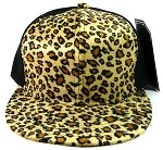 Plain Leopard/Cheetah Snapback Hats Wholesale - 6 Panel | Brown
