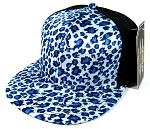 Plain Leopard/Cheetah Snapback Hats Wholesale - 6 Panel | Blue
