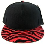 Blank Zebra Snapback Hats Wholesale - Black | Red-p
