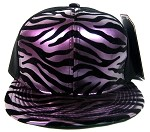 Blank Zebra Snapback Hats Wholesale - 6 Panel | Metallic Purple