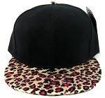 Plain Leopard/Cheetah Snapback Hats Wholesale - Black | Pink