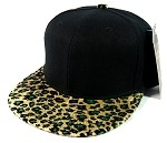 Plain Leopard/Cheetah Snapback Hats Wholesale - Black | Olive Green