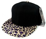 Plain Leopard/Cheetah Snapback Hats Wholesale - Black | Purple