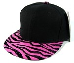 Blank Zebra Snapback Hats Wholesale - Black | Hot Pink - Shiny