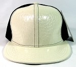 Plain Alligator Croc Snapback Hats Wholesale - 6 Panel | White