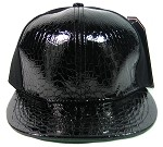 Plain Alligator Croc Snapback Hats Wholesale - 6 Panel | Black