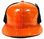 Plain Alligator Croc Snapback Hats Wholesale - 6 Panel | Orange