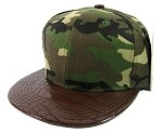 Blank Alligator Vintage Snapback Hats Wholesale - Camouflage | Brown