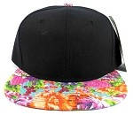 Blank Floral Snapback Hats Caps Wholesale - Black | Multicolored Brim