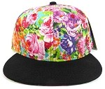Blank Floral Snapback Hats Caps Wholesale - Multicolored | Black Brim