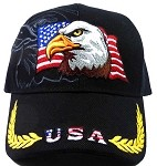 USA Flag & Eagle Baseball Caps Wholesale - Black