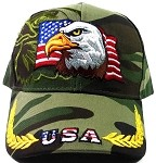 USA Flag & Eagle Baseball Caps Wholesale - Green Camouflage