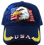 USA Flag & Eagle Baseball Caps Wholesale - Navy