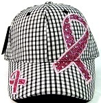 Rhinestone Pink Ribbon Awareness Baseball Caps Wholesale - Plaid Black/White