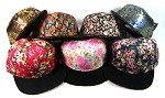 Blank Floral Snapback Hats Wholesale - Flower Print Crown | Black Brim