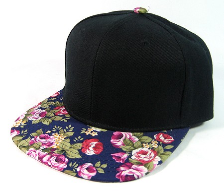 Blank Retro Floral Snapback Hats Wholesale - Black | Navy Brim | Large Pink Flowers