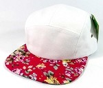 Wholesale 5 Panel Floral Camp Hats Caps - White | Red Roses