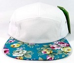 Wholesale 5 Panel Floral Camp Hats Caps - White | Turquoise Flower