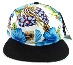 Floral Snapback Hats Caps Wholesale - Blue Hawaiian Hibiscus Flowers | Black