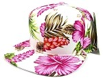 Floral Snapback Hats Caps Wholesale - Pink Hawaiian Flowers