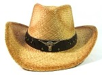 Western Cowboy Straw Hats Wholesale - Longhorn & Brown Band
