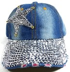 Wholesale Rhinestone Denim Baseball Caps for Women - Star 1