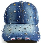 Wholesale Sparkling Bling Denim Ball Caps for Women - Stars
