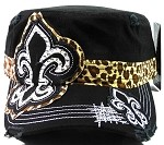 Bling Fashion Fleur de Lis Cheetah Cadet Hats Wholesale - Black