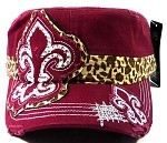 Bling Fashion Fleur de Lis Cheetah Cadet Hats Wholesale - Burgundy
