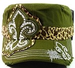 Bling Fleur de Lis Cheetah Cadet Hats Wholesale - Green