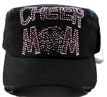 Bling Cheer MOM Cadet Hats Wholesale - Black & Light Pink Rhinestone