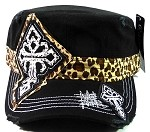 Bling Cross Cheetah Cadet Hats Wholesale - Black