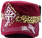 Bling Cross Cheetah Cadet Hats Wholesale - Burgundy