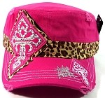 Bling Cross Cheetah Cadet Hats Wholesale - Hot Pink