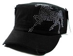 Bling Horse Cowgirl Cadet Caps Wholesale - Black