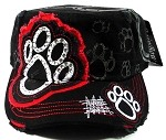 Bling Paw Print Rhinestone Fashion Cadet Hats Wholesale - Black Cap with Red Patch