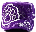 Bling Cowgirl PAW PRINT Cadet Hats Wholesale - Purple