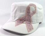 Bling Breast Cancer Pink Ribbon Cadet Hats Wholesale - White