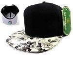 Blank Floral Snapback Caps Hats Wholesale - White | Black