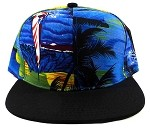 Blank Beach Snapback Hats Wholesale - Hawaii Blue | Black Brim