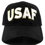 Wholesale US Military Ball Caps - USAF Text Hats - Black