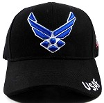 Wholesale US Military Ball Caps - USAF Insignia Hat - Black