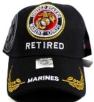 US Military Marines RETIRED Ball Caps Wholesale - Black