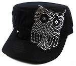 Bling Cowgirl Owl Fashion Cadet Hats Wholesale - Black