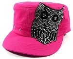Bling Cowgirl Owl Fashion Cadet Caps Wholesale - Pink